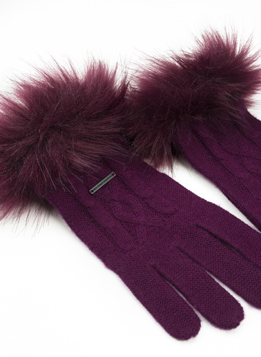 Silk and Cashmere Eldiven Bordo